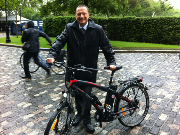 Jason McCartney MP for Colne Valley outside the House of Lords with the Volt Pulse