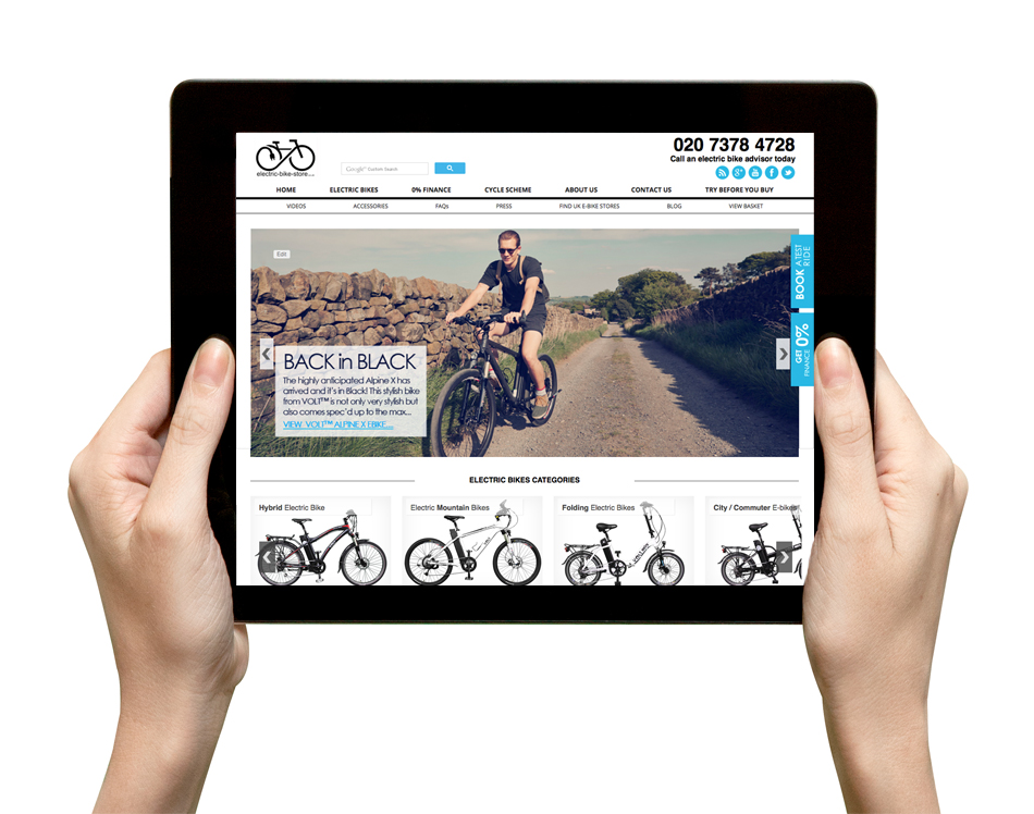 Electric Bike Store Site on tablet
