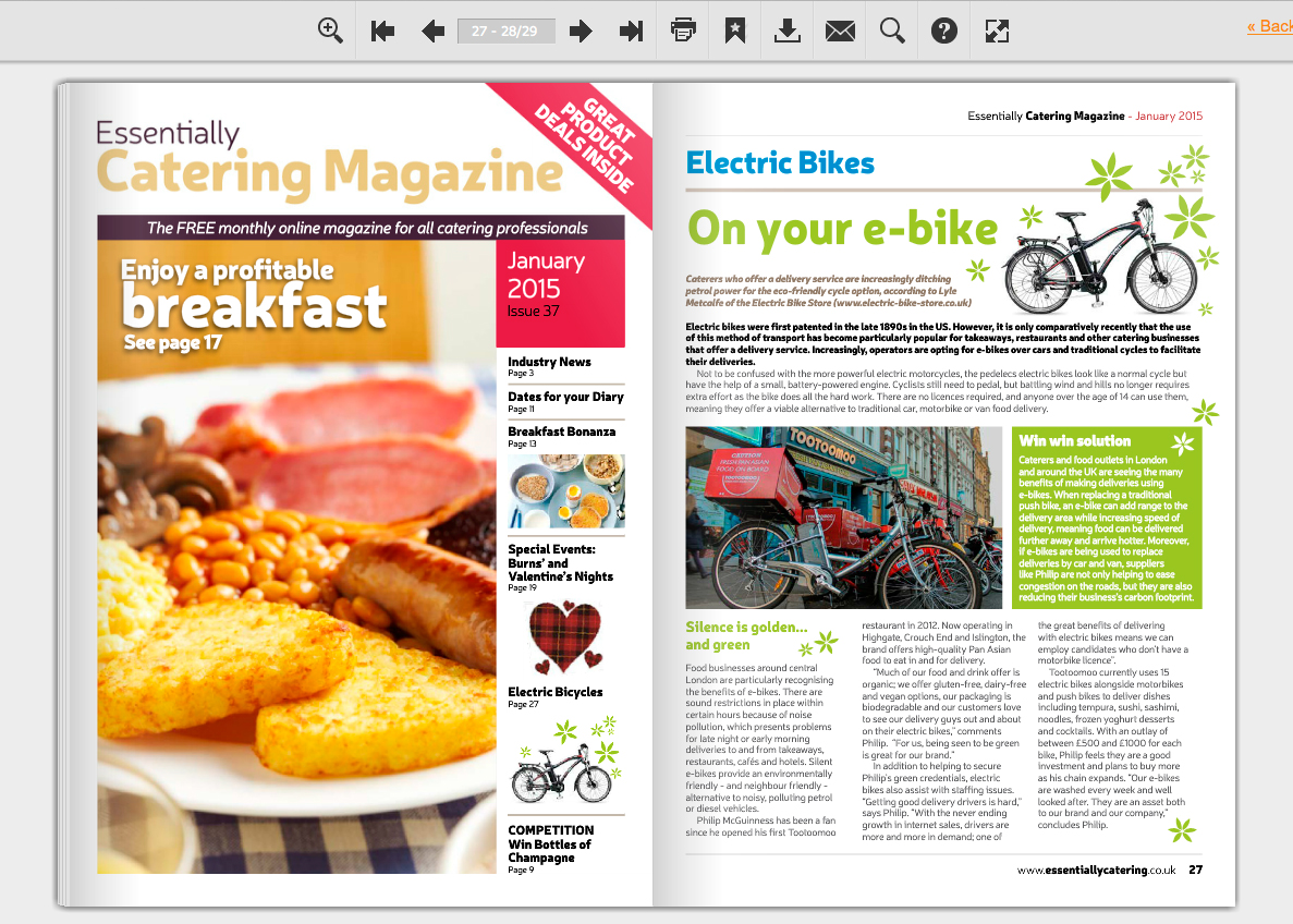 e-bikes article essentially catering magazine